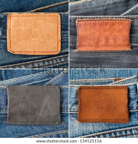 Blank jeans labels - stock photo