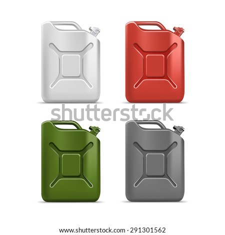 Blank Jerrycan Canister Gallon Oil Cleanser Detergent Abstergent Isolated - stock photo