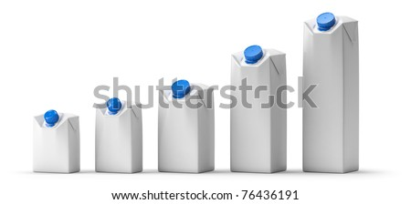 Blank juice or milk package lineup. Isolated on white. - stock photo