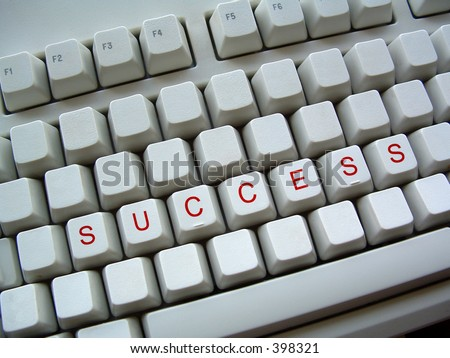 blank keyboard with word success - stock photo