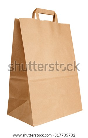 Blank kraft paper bag isolated on white background - stock photo