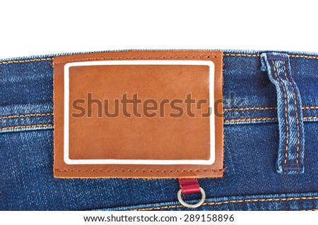 Blank label on jeans - fashion background