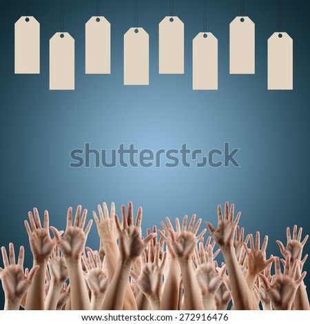 Blank labels over blue gradient background, people's hands lifted up in the air.. Sale poster. Festive backdrop poster on Black Friday theme with copy space and clipping pass.