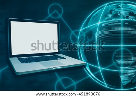 Blank Laptop with Media Worldwide of Technology Background - Concept of global business - stock photo