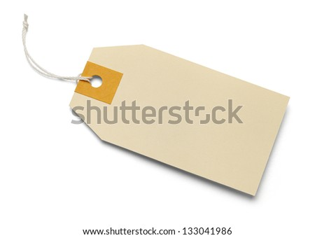 Blank large manila tag on isolated white background.