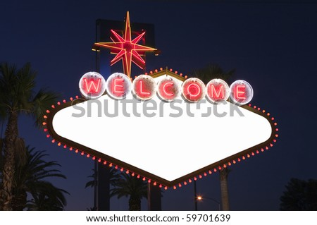 Blank Las Vegas sign with Palms at night.  Overhead wires were removed. - stock photo