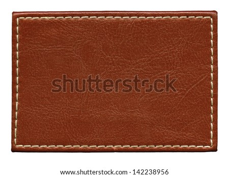 Blank leather background with stitches, isolated. - stock photo