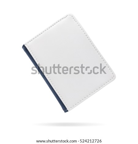 Blank leather bag or card holder for keep name contact on isolated background with clipping path. Small wallet cover for your design.