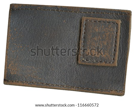 Blank leather jeans label, isolated, decorated