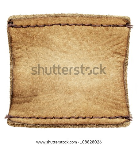Blank leather jeans label isolated on white background - stock photo