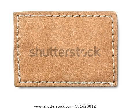 Blank leather jeans label, isolated. with clipping path