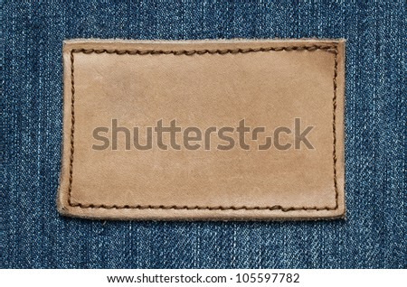 Blank leather jeans label with copy space