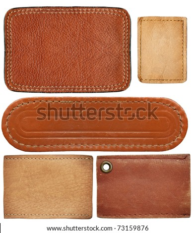 Blank leather jeans labels isolated on white background - stock photo