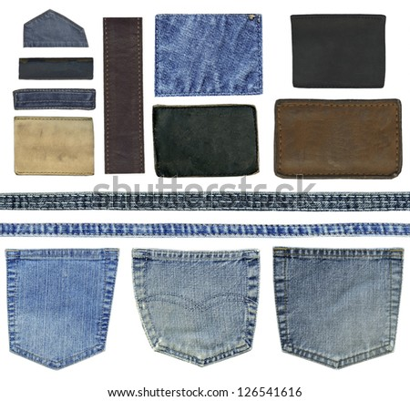 Blank leather jeans labels, pockets and other elements of jeans, isolated. - stock photo