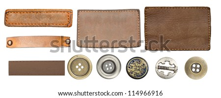 Blank leather jeans labels, straps isolated on white background, set of various jeans' metal  buttons - stock photo