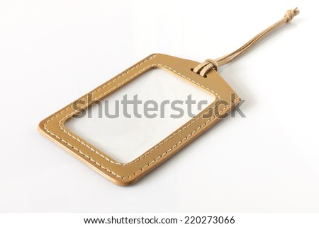 Blank Leather Label or Tag Isolated on White Background - stock photo