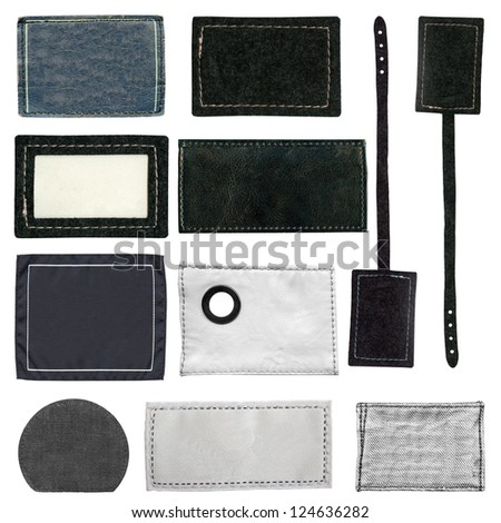 Blank leather, textile, jeans labels,  isolated on white background - stock photo