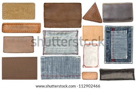 Blank leather, textile jeans labels, straps isolated on white background - stock photo