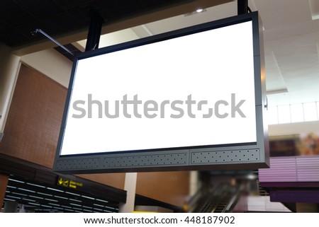 blank led billboard at airport - stock photo