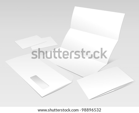 Blank Letter, Envelope, Business Cards and Booklet. Design Template for Corporate ID Presentation. Rasterized Version