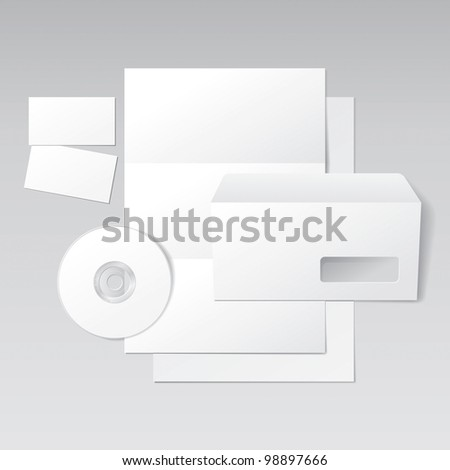Blank Letter, Envelope, Business Cards and CD. Design Template for Corporate ID Presentation. Rasterized Version - stock photo