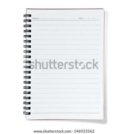 blank lined notebook on white  background