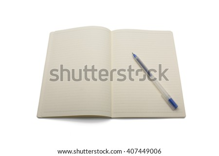 Blank lined notebook with blue pen isolated on white background - stock photo