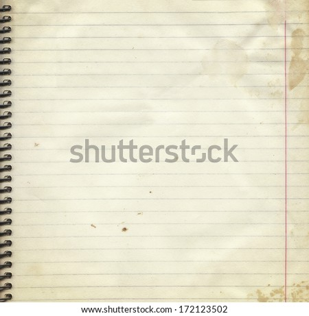 Blank lined paper page from old spiral notebook, vintage background,  framework for your content - stock photo