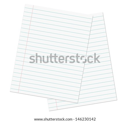 Blank lined paper sheets or notepad pages.  - stock photo