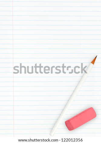 Blank lined sheet of paper from a notebook with pencil and eraser isolated on white background - stock photo