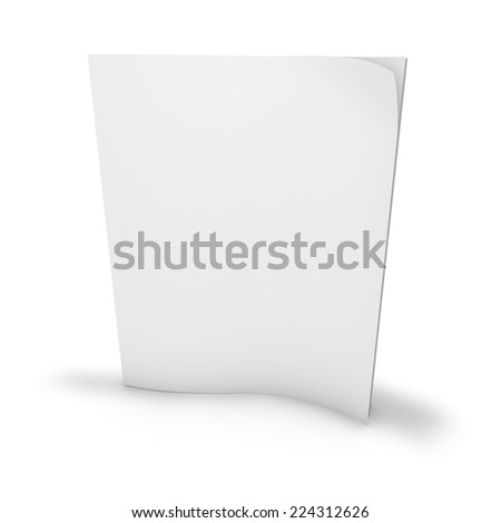 blank magazine, newspaper standing, with shadow, empty cover, isolated on white 3d render background - stock photo