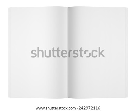 blank magazine or book on white background - stock photo