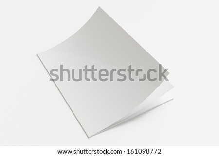 Blank Magazine with soft shadows isolated on white - stock photo