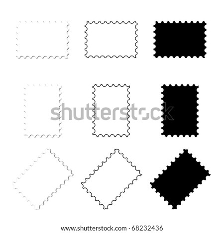 Blank Mail Stamps - stock photo