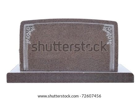 Blank marble tombstone with floral design, isolated on white - stock photo
