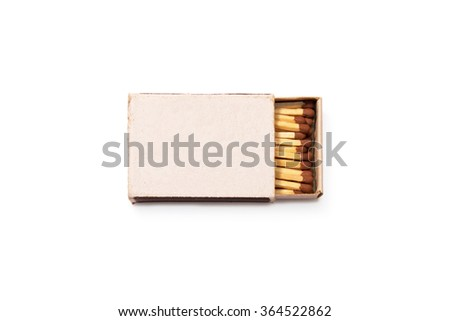Blank matches box mock up isolated. Empty paper match book packaging mockup. Matchbook case photo image top view ready for logo design presentation. Opened matchbox clear surface. - stock photo
