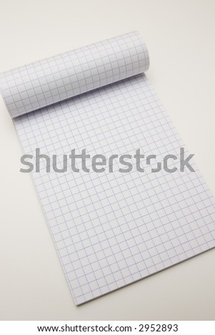 Blank math notebook ready for writing, and graphics - stock photo