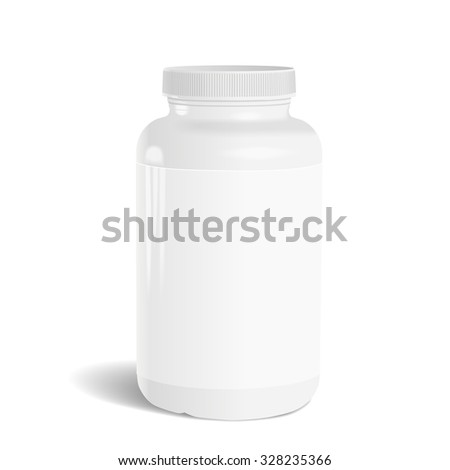 blank medicine bottle with label isolated on white background