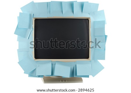 Blank memo sheets attached to monitor as reminder concept (clipping path). - stock photo