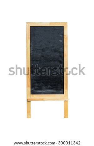 Blank menu blackboard outdoor display isolated on white background