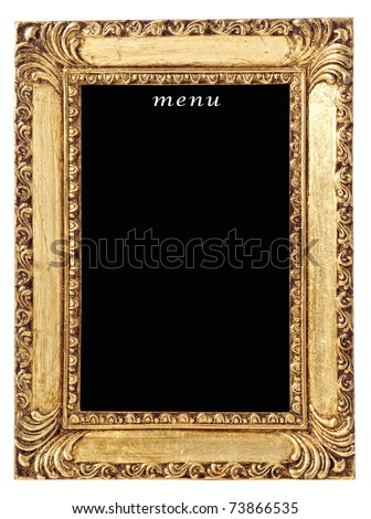 Blank menu board in gilt frame on white background