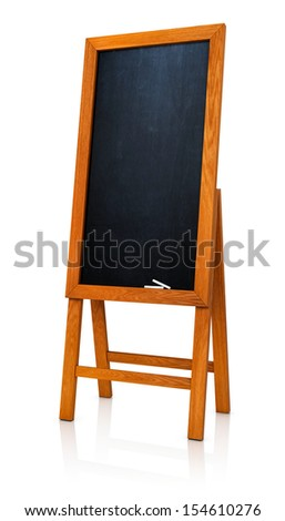 Blank menu board wooden frame. Isolate on white background - stock photo