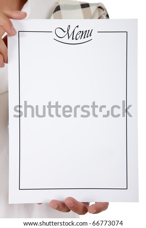 Blank menu list held by a caucasian male chef hands. Studio shot. White background. Copy space - stock photo