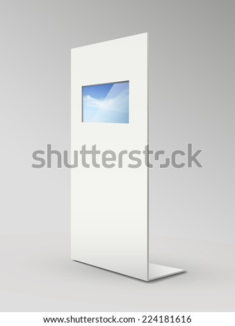 blank metal advertising stands isolated on grey - stock photo