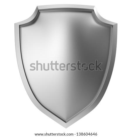 Blank metal shield icon on white - stock photo