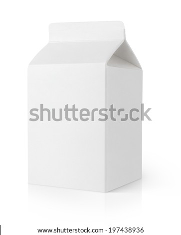 Blank milk carton package isolated on white background with clipping path - stock photo