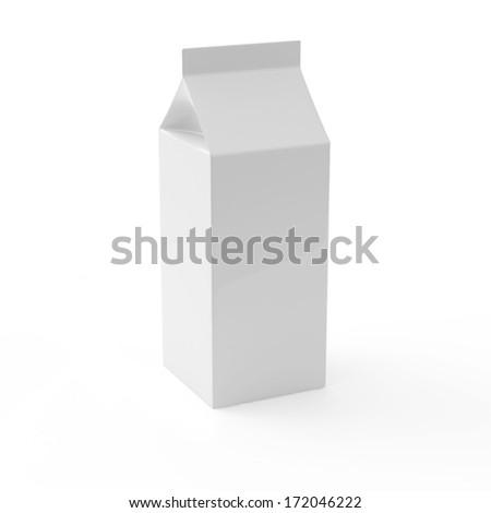 Blank Milk Carton Package on white background - stock photo