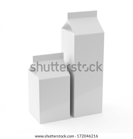 Blank Milk Carton Packages on white background - stock photo