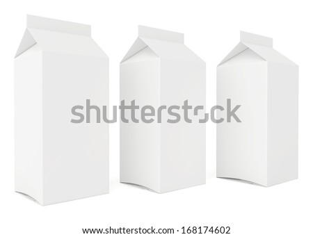 Blank milk or juice carton cans. 3d render on white background. - stock photo