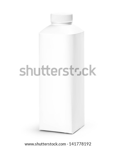 Blank Milk or Juice Pack isolated on white background. Studio shot with clipping path. - stock photo